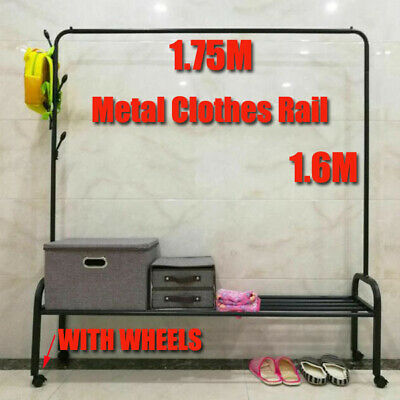 6FT Garment Clothes Rail Metal Rack Shop Hanging Display Stand Supper Heavy Duty