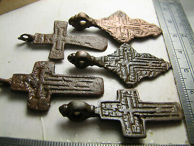 5 Pcs. SET. AUTHENTIC.RELIEF! LATE MEDIEVAL BRONZE CROSSES PENDANTS #1507
