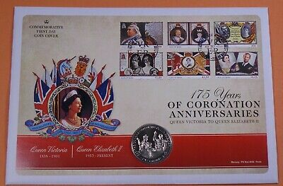 2013 Isle Of Man Mercury First Day Cover Crown Coin Coronation Anniversary
