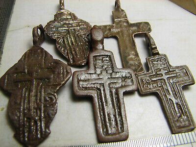 5 Pcs. set LATE MEDIEVAL ORTHODOX BRONZE CROSSES PENDANTS #1510