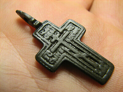 Prayer ! Authentic ! Relief! Late Medieval Bronze Cross Pendant #1476