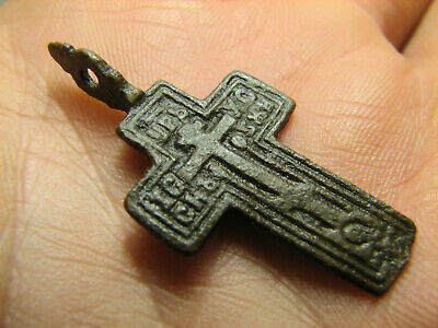 Prayer ! Authentic ! Relief! Late Medieval Bronze Cross Pendant #1478