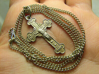 CRUCIFIXION ! STERLING SILVER  VINTAGE CROSS PENDANT with CHAIN #1526