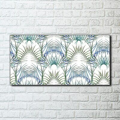 Canvas Print Wall Art Framed Tropical Blue Leaves Removable Exotic Watercolour