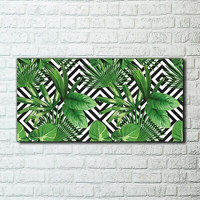 Canvas Print Wall Art Image Tropical palm leaves geometric green black and white
