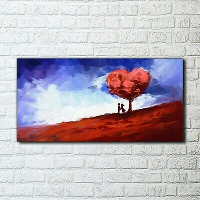 Wall Art Glass Print Trees painting artistic background 100x50