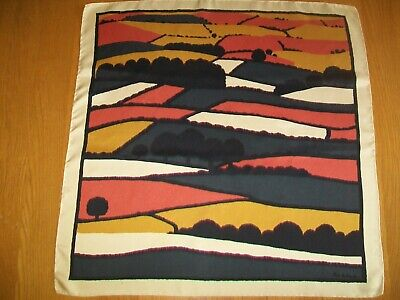 Beckford Silk. Beautiful Pat Albeck 1970'S Countryscape Vintage Silk Scarf