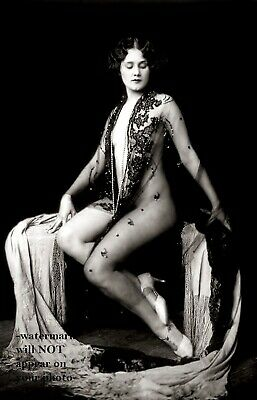 Sexy Nude Ziegfeld Girl PHOTO Art Flapper in White High Heels ACJ
