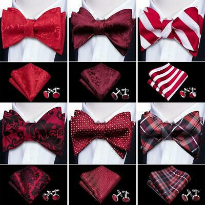 UK Barry Wang Mens Self tie Bow Tie Set Lot Red Burgundy Paisley Striped Silk