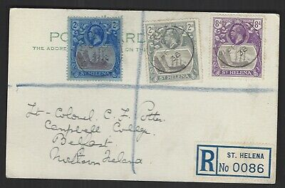 1938 registered card used to Belfast with 2d 8d and 2/- (Torn) KGV Badge values
