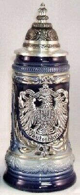 Pewter Eagle Crest Blue LE German Beer Stein .25L One New Mug Made in Germany