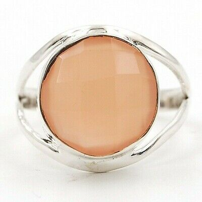 Faceted Rose Quartz 925 Solid Sterling Silver Ring Jewelry Sz 10, D24-6