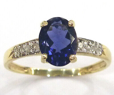 Syjewelryempire 10Kt Yellow Gold Natural Iolite & Diamond Ring Size 7   R1275