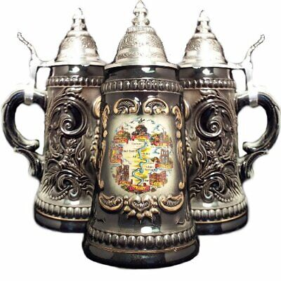 Mosel Moselle River Black Shield German Beer Stein .25L One Mug Wine Country New