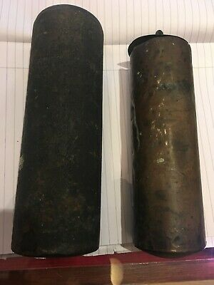 Pair Of Brass Cased Longcase Grandfather Clock Weights antique 5kg