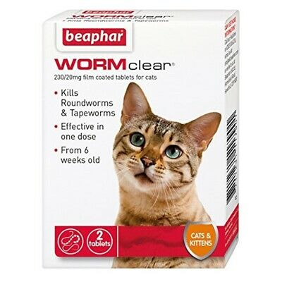 Ver Beaphar Clear Chats Et Chatons 2 Onglet x 1 - Cats Worm Comprimés