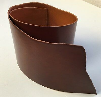 Vegetable tanned cow hide very rich chestnut leather 110 cm x 30 cm x 3.4 mm