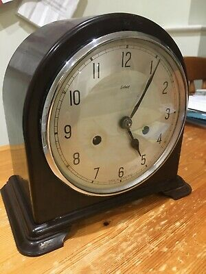 Antique Art Deco Smiths Enfield Bakelite Cased Striking Mantel Clock Pwo