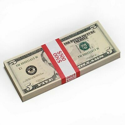 Prop Money Blue Real Looking Play Money New Style Copy $5s Full Print Stack