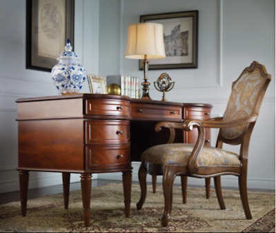 """Statesman"" Executive Desk (""Bombay"" Furniture Company) with glass top"