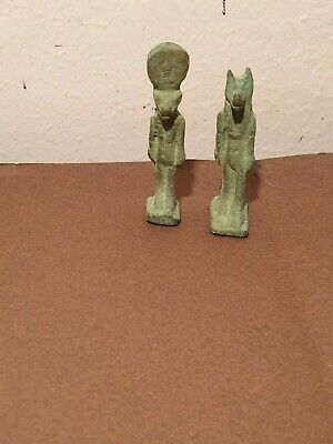 Scarce Antique Ancient Egyptian Bronze Statues God sekhmet & Anubis war 1460BC