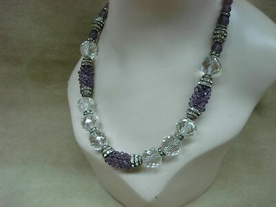 Elegant Antique Art Deco Faceted Crystal Amethyst Art Glass Rhinestone Necklace