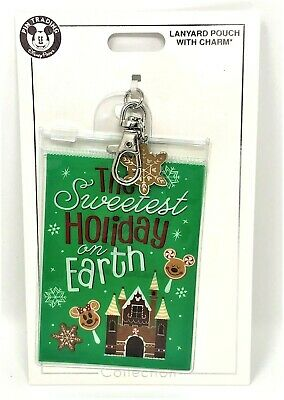 New 2019 Disney Holiday Lanyard Pouch Charm Sweetest Holiday on Earth Christmas