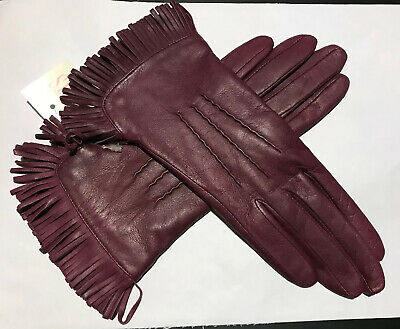 Dents Ladies Burgundy Lined Leather Gloves Size 6.5 Small Bnwt