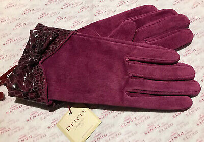 Dents Ladies Hot Pink Suede Leather Lined Gloves Size 7 Bnwt