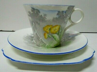Shelley Painted Landscape Yellow Flowers Art Deco Trio Cup Saucer Plate 2158A