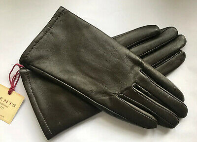 Dents Ladies Mocha Brown Lined Leather Gloves Size 7 Medium Bnwt