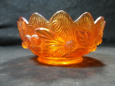 """Marked Northwood Carnival Glass Acorn Burrs Berry Bowl ~ Marigold ~ 4 1/2"""""""