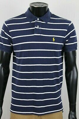 Polo Ralph Lauren Mens Blue White Mesh Custom Fit Shirt Sz Large Yellow Pony