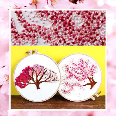 Gift Embroidery Kit Handwork Painting Cross Stitch DIY Craft Cherry Tree Ribbon