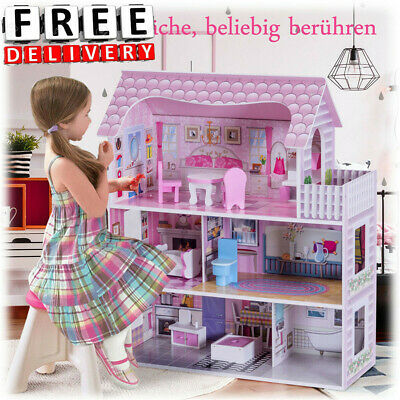 House Size Dollhouse Furniture Girls Play Townhouse Gift Birthday Room Toy Fun