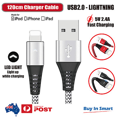Lightning USB Charger Cable Cord braided LED Data Sync Iphone ipad 6 X 8 7 5 Air