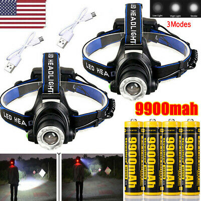 350000Lumen LED T6 Zoomable Headlamp USB Rechargeable Headlight 18650 Head Light
