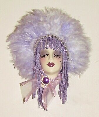 FREE SHIPPING- Unique Creations Small Art Deco Lady Face Mask Wall Hanging