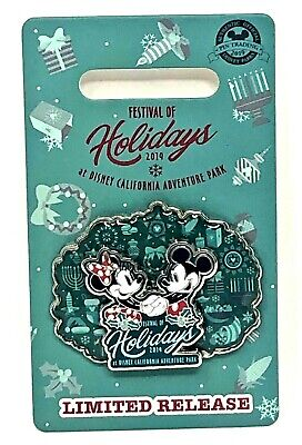 Disney Parks 2019 Teal Blue Mickey Minnie Disneyland Pin Festival of Holidays
