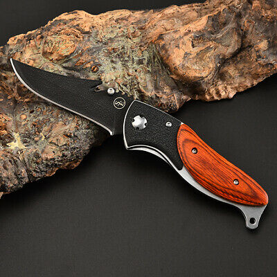 Outdoor Folding Knife Wooden Handle Stainless Blade Tactical Camping Survival