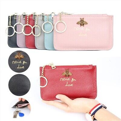 Women Ladies Genuine Leather Small Wallet Stylish Coin Card Key Ring Pouch Purse