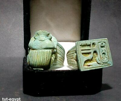 2 Rare ANTIQUE ancient Egyptian scarab,Alphabet beetle Ring , 300 BC