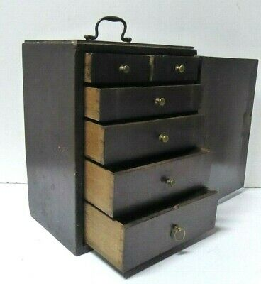 Antique Mahogany Travel Vanity Chest Drawers Travelling Case Jewellery Tools