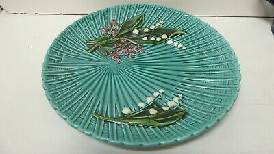 Antique Majolica Embossed Basket Weave Floral Marie Louise German Charger Plate
