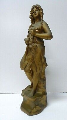Antique Gilt Painted Plaster Deco Statue Classical French Maiden Lady Figurine