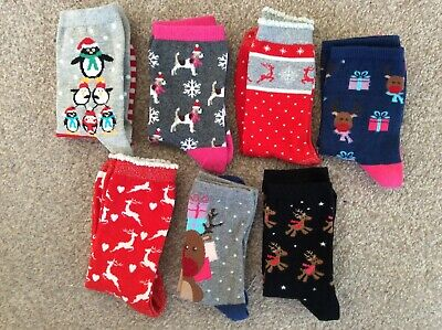 Ladies Christmas Socks x 7 Pairs, Acrylic, assorted colours, new, all sizes 4-7