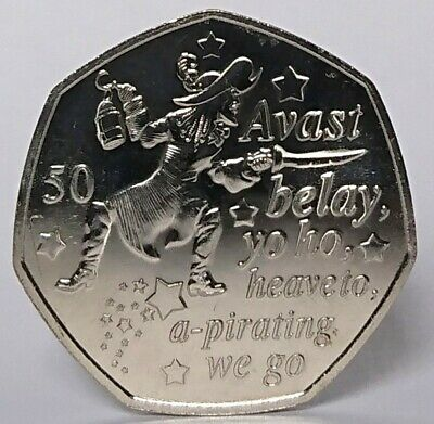 2019 Captain Hook Peter Pan 50p coin Isle of Man from Sealed Bag Unc