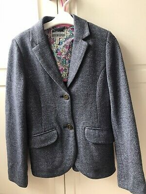 Joules Girls Herringbone WHITE/BLUE Jacket Age 9-10 yrs  lovely condition