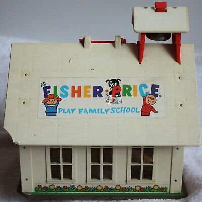 Vintage Fisher Price Play Family School ca. 1970 Schulhaus Schule Haus