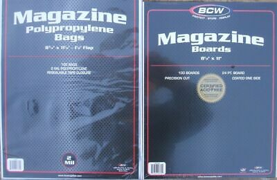 (100) Bcw Resealable Magazine Size Bags / Covers And Backing Boards